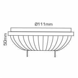 lámpara focal QR111 de 11W GX53, regulable (DIMMABLE) dibujo técnico.