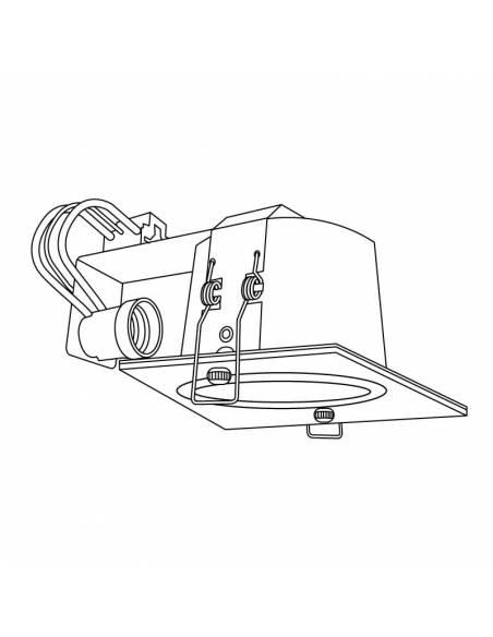 Foco empotrable, downlight MINISQUARE para bombillas de 15W. Dibujo técnico.