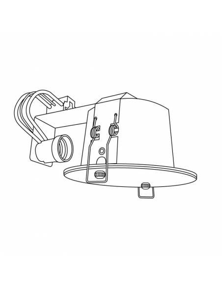 Foco empotrable, downlight ROUND para colocar bombilla de 15W. Dibujo técnico.