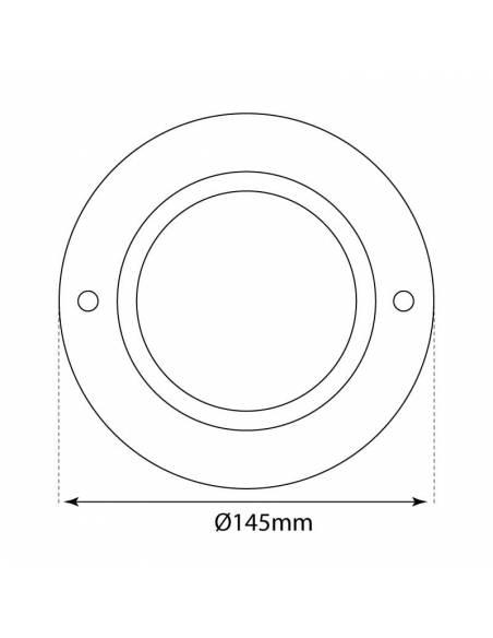 Foco empotrable, downlight ROUND para colocar bombilla de 15W. Medidas del cristal.