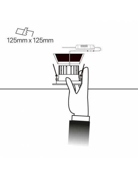 Foco empotrable de led, modelo STORE 18W. Esquema de empotramiento.