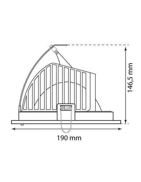 Foco empotrable LED, modelo HALIDE ROUND, medidas metido en techo.