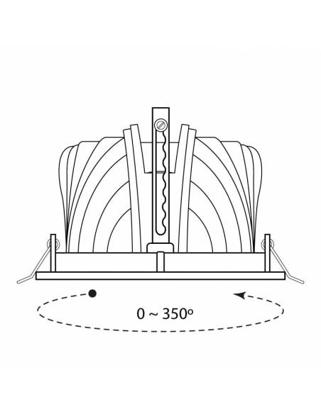 Foco empotrable LED, modelo HALIDE ROUND, dibujo técnico y giro.