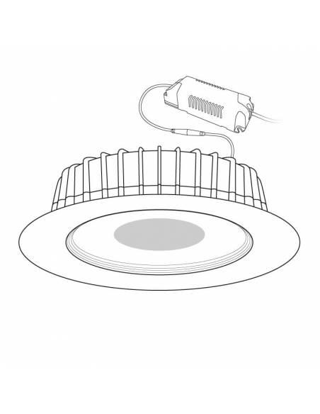 Foco empotrable led, modelo STEP de 30W. Dibujo técnico.