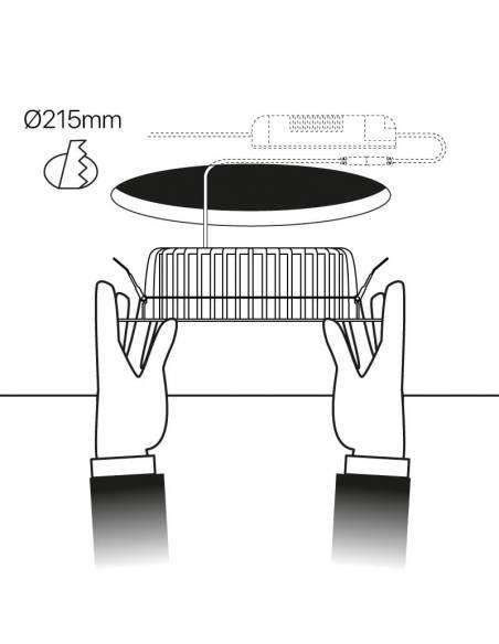 Foco empotrable led, modelo STEP de 30W. Esquema de instalación en techo.