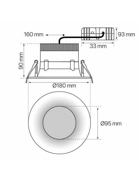 Foco empotrable led, modelo CURVE de 15W redondo. Medidas y dimensiones.