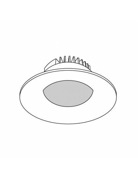 Foco empotrable led, modelo CURVE de 15W redondo. Dibujo técnico.