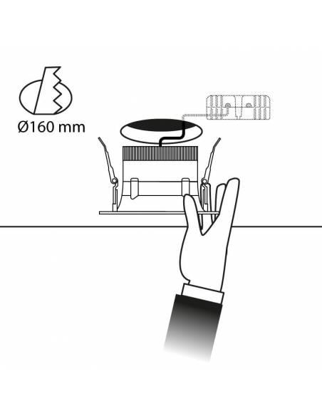 Foco empotrable led, modelo CURVE de 15W redondo. Esquema de empotrar en techo.