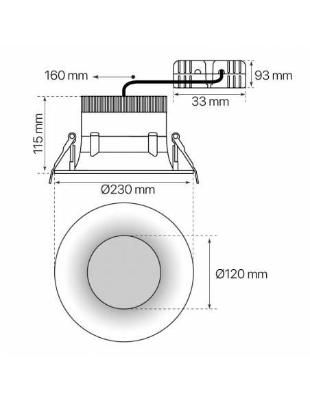 Foco empotrable led, modelo CURVE de 25W redondo. Medidas y dimensiones.