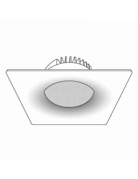 Foco empotrable led, modelo CURVE de 25W cuadrado. Dibujo técnico.