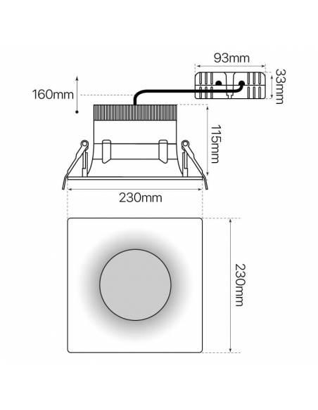 Foco empotrable led, modelo CURVE de 25W cuadrado. Medidas y dimensiones.
