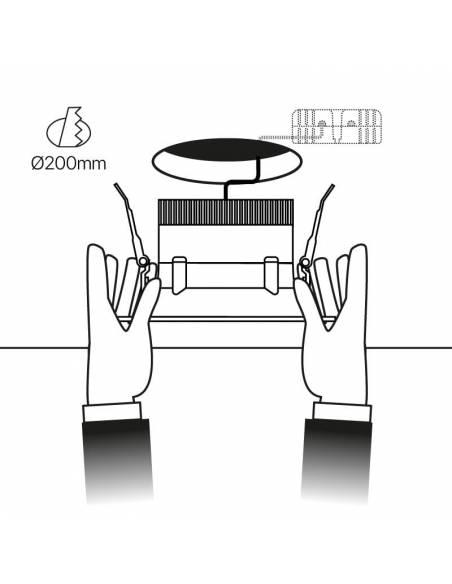 Foco empotrable led, modelo CURVE de 25W cuadrado. Esquema de empotrar en techo.