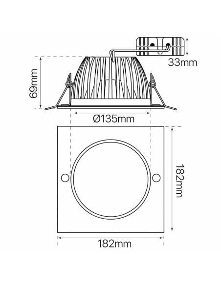 Foco empotrable led, modelo DOWN-LED de 15W. Medidas y dimensiones.