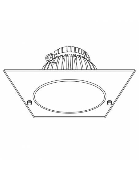 Foco empotrable led, modelo DOWN-LED de 15W. Dibujo técnico.