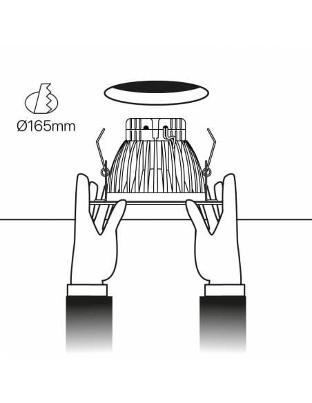 Foco empotrable led, modelo DOWN-LED de 15W. Esquema de empotrar en techo.