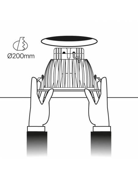 Foco empotrable led, modelo DOWN-LED de 15W. Esquema de empotrar en falso techo.
