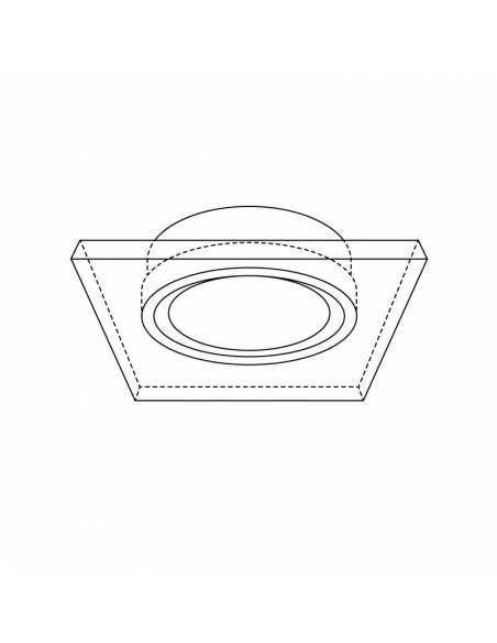 Ojo de buey MIRROR, aro empotrable de aluminio y cristal. Dibujo técnico.
