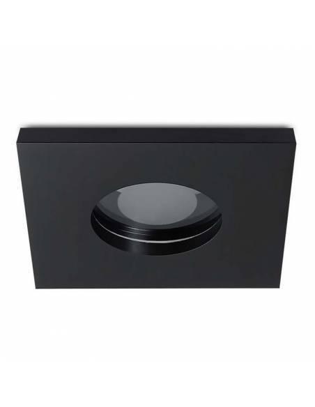 Ojo de buey, OUT IP65, aro empotrable cuadrado, negro.
