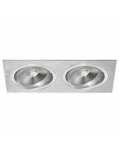 Ojo de buey, ALUM AR111 RECTANGULAR, aro de empotrar de dos luces, aluminio.
