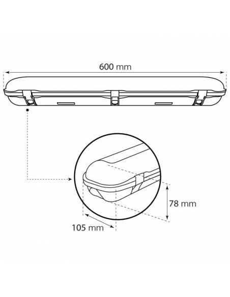 Pantalla de led estanca, modelo MARSEILLE de 20W. Dibujo técnico.