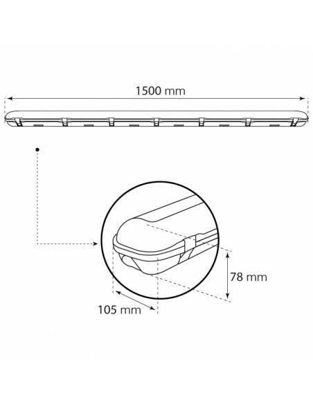 Pantalla de led estanca, modelo MARSEILLE de 60W. Dibujo técnico.
