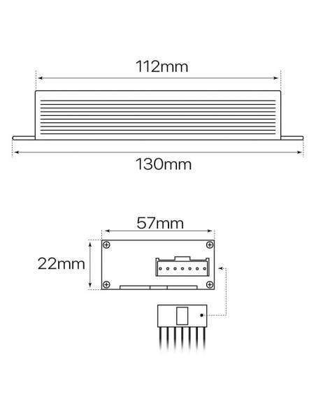 KIT de emergencia para pantalla estanca LED, medidas y dimensiones.