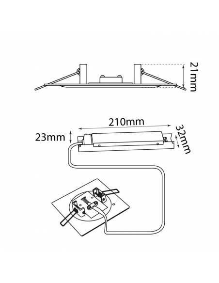Luz de emergencia modelo INTEGRA empotrable en techo y pared. Medidas y dimensiones.