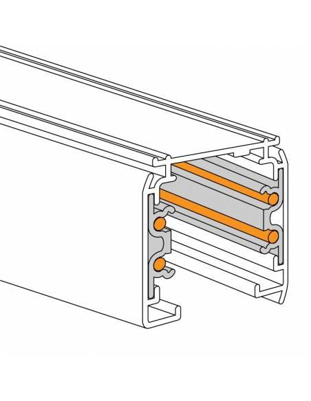 Carril trifásico modelo ALASKA de 2 metros. dibujo técnico.