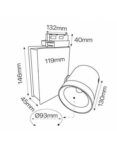 Foco led para carril, modelo TRACK.05. Proyector de 30W. Dibujo técnico y medidas.