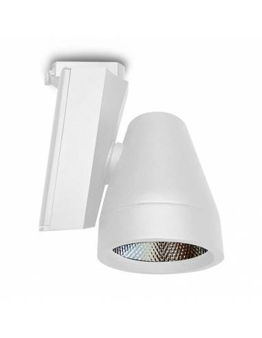 Foco led para carril, modelo TRACK.06. Proyector de 30W, forma cónica. Color blanco.
