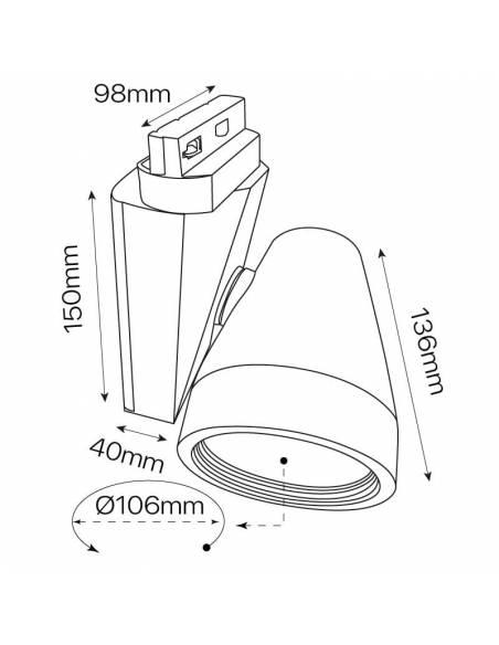 Foco led para carril, modelo TRACK.06. Proyector de 30W, forma cónica. Dibujo técnico.