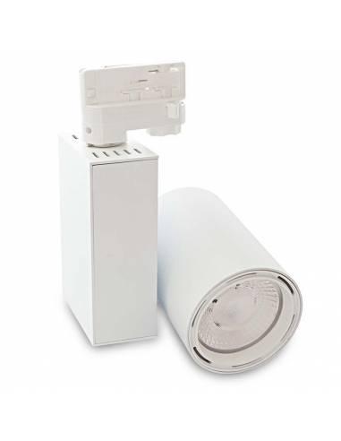 Foco led para carril, modelo TRACK.07. Proyector de 30W, forma cilíndrica. Color blanco.