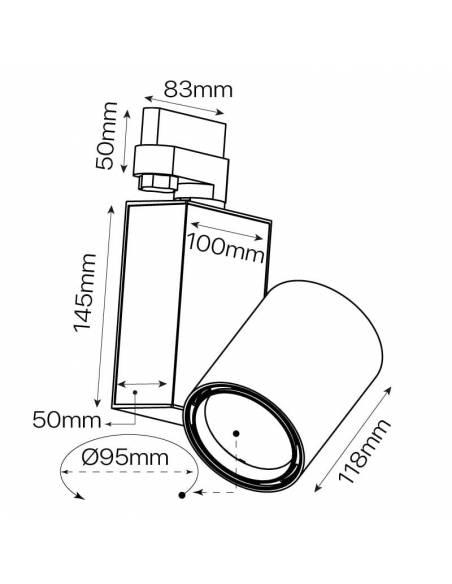 Foco led para carril, modelo TRACK.07. Proyector de 30W, forma cilíndrica. Dibujo técnico.