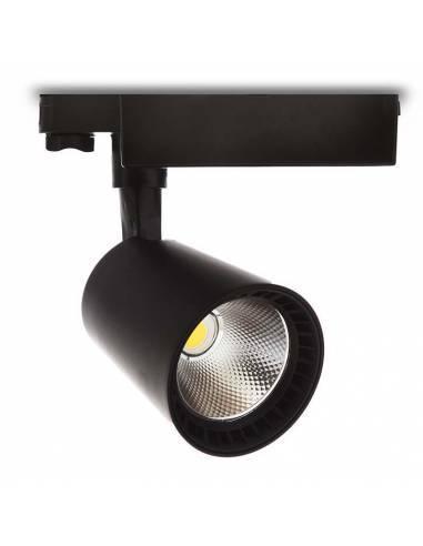 Foco led para carril trifásico, TRACK.12. Proyector de 30W, color negro.