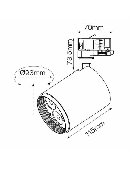 Foco led carril trifásico, TRACK.CONCENTRA, proyector de 12W. Dibujo técnico y medidas.