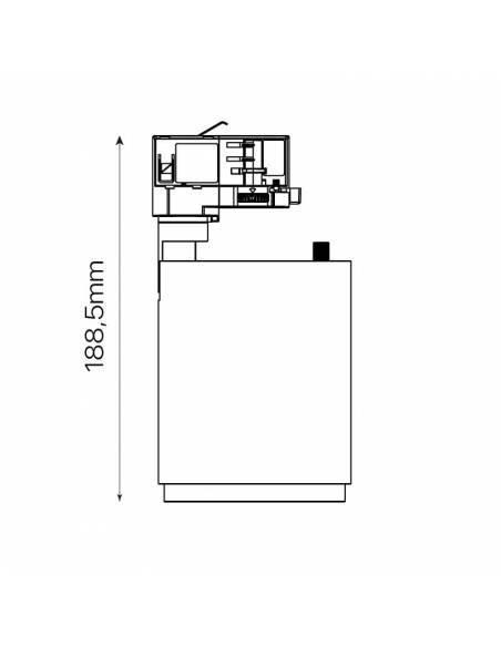 Foco led carril trifásico, TRACK.CONCENTRA, proyector de 12W. Dibujo técnico recto.