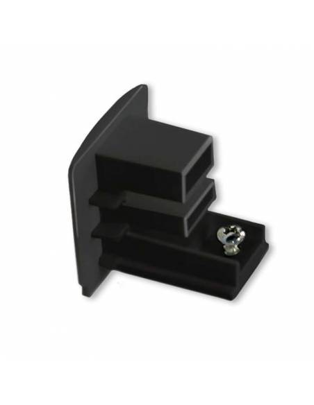 Tapa final para carril trifásico para focos led, color negro.