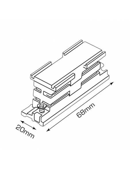 Conector interior para carril trifásico de focos led. Dibujo técnico y medidas.