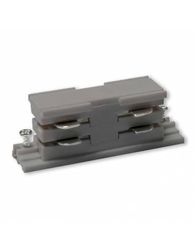 Conector interior para carril trifásico de focos led. Color gris.