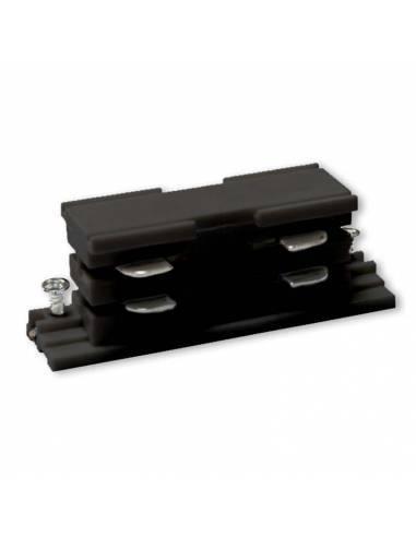 Conector interior para carril trifásico de focos led. Color negro.