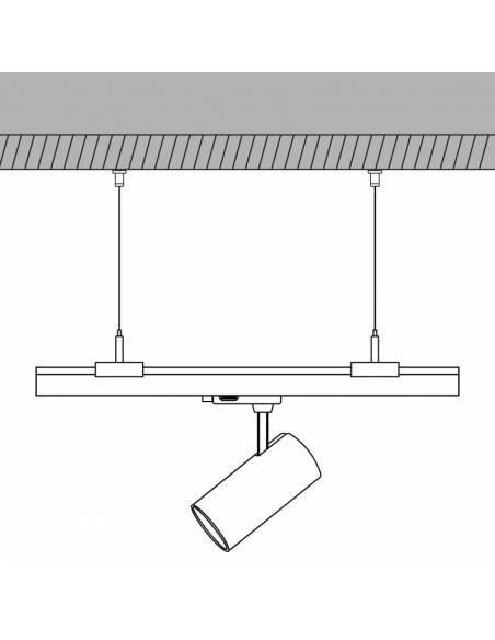 Kit de suspensión con cierre para carriles trifásicos de focos led. Muestra de montaje de techo.