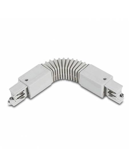 Carril trifásico conector intermedio flexible ajustable, de color blanco.
