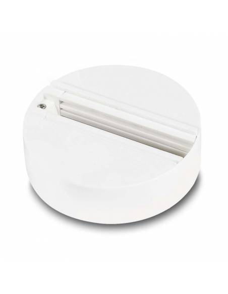Base trifásica para focos de carril, como los TRACKS proyectores de led. Color blanco.