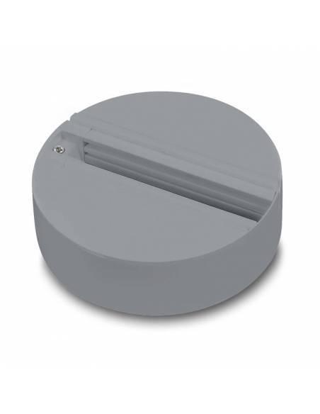 Base trifásica para focos de carril, como los TRACKS proyectores de led. Color gris.