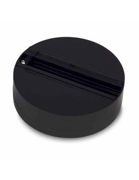 Base trifásica para focos de carril, como los TRACKS proyectores de led. Color negro.