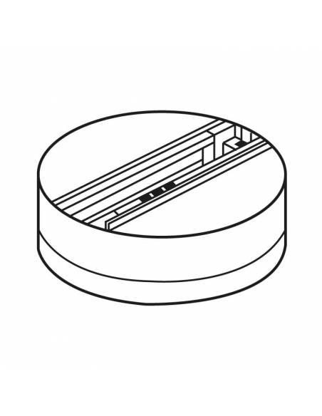 Base trifásica para focos de carril, como los TRACKS proyectores de led. Dibujo técnico.
