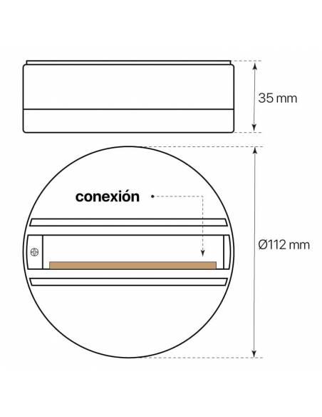 Base trifásica para focos de carril, como los TRACKS proyectores de led. Medidas y conexión.