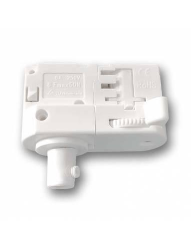 Conector y adaptador para carril trifásico de luminarias y lámparas convencionales. Color blanco.
