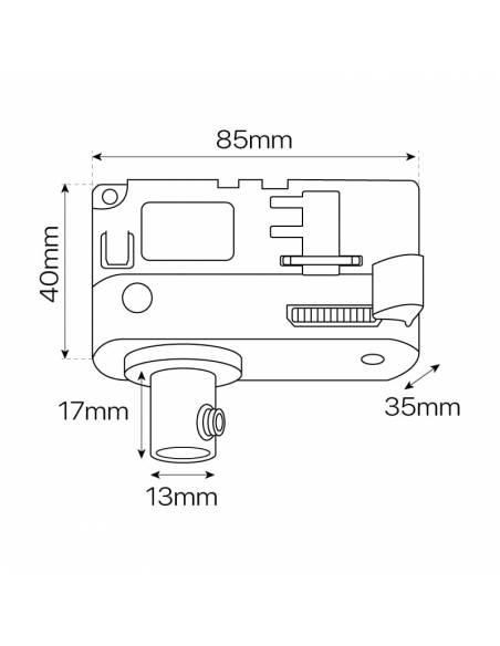 Conector y adaptador para carril trifásico de luminarias y lámparas convencionales. Dibujo técnico y medidas.