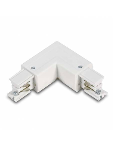 Conector L izquierdo para carril trifásico de focos de carril led. Color blanco.